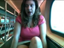 girl masturbates on train…